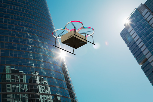 Portability「Drone delivers goods over the city」:スマホ壁紙(10)