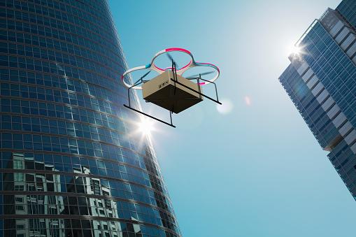 近未来的「Drone delivers goods over the city」:スマホ壁紙(2)