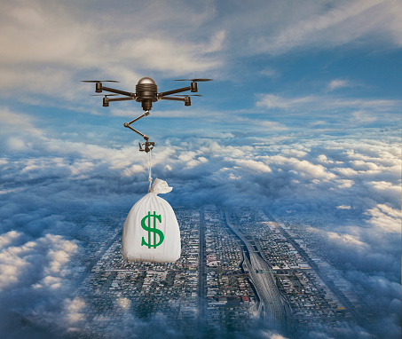 Cloud Computing「Drone Delivering Emergency Cash Money」:スマホ壁紙(0)