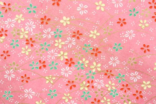 和柄「Pink Japanese paper with flower pattern (full frame)」:スマホ壁紙(19)