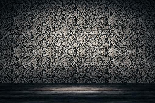 Floral Pattern「Empty spotlit room with flower pattern wallpaper」:スマホ壁紙(15)