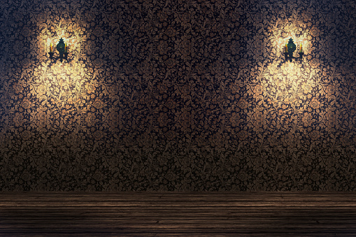 Floral Pattern「Empty spotlit room with flower pattern wallpaper」:スマホ壁紙(3)