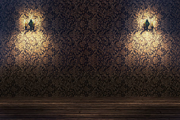 Empty spotlit room with flower pattern wallpaper:スマホ壁紙(壁紙.com)