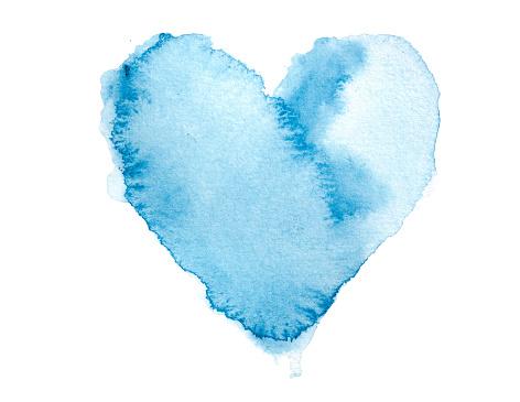 Heart「Watercolour Blue Painted Textured Heart」:スマホ壁紙(9)