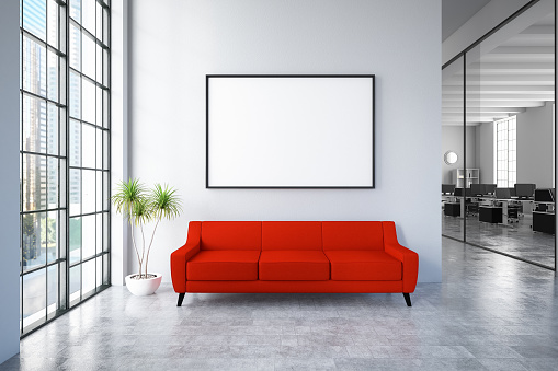 Blank「Waiting Room with Empty Frame and Red Sofa」:スマホ壁紙(0)