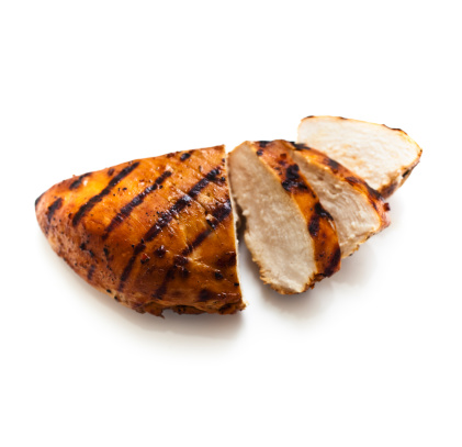 Char-Grilled「A sliced grilled chicken breast on a white background」:スマホ壁紙(15)