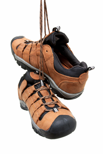 Rock Climbing「Hiking boots hanging isolated on white background」:スマホ壁紙(17)