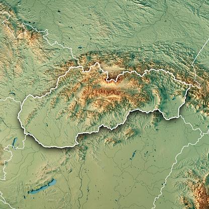 地図「スロバキア国境 3 D のレンダリングの地形図」:スマホ壁紙(14)