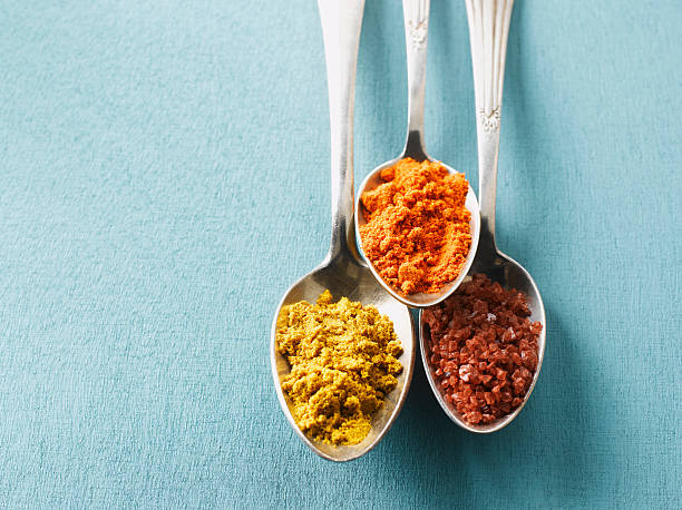 Cayenne pepper, Curry powder and rock salt on spoons, elevated view:スマホ壁紙(壁紙.com)
