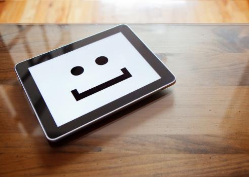 Conceptual Symbol「Digital tablet with smile emoticon」:スマホ壁紙(1)