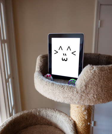 Scratching Post「Digital tablet with emoticon cat face」:スマホ壁紙(7)