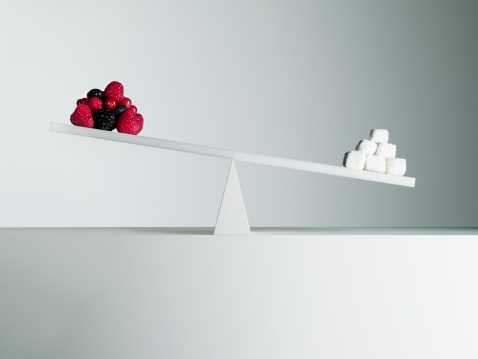 Choice「Sugar cubes tipping seesaw with berries on opposite end」:スマホ壁紙(4)