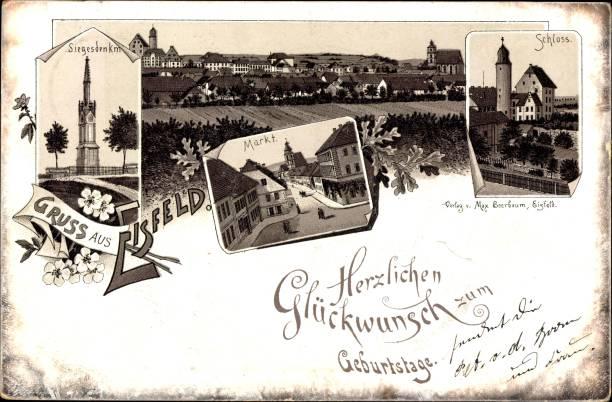 Litho Eisfeld in Thüringen, Siegesdenkmal, Markt, Schloss:ニュース(壁紙.com)