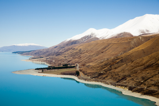 Mt Cook「Hall Mountain Range bordering braided glacial water of Godley River and Lake Tekapo, South Island, New Zealand」:スマホ壁紙(14)