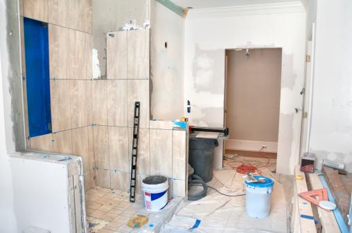 Industrial Garbage Bin「Master Bathroom Remodeling: Tiling in the Shower」:スマホ壁紙(16)