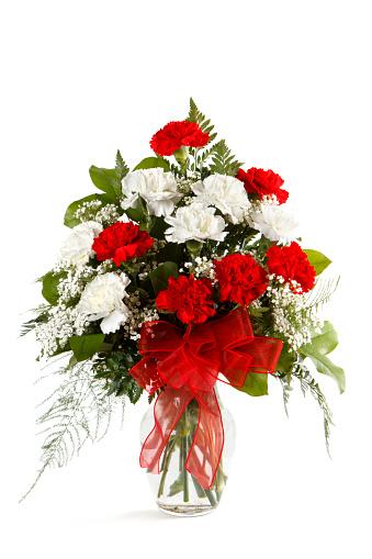 カーネーション「Bouquet Of carnations に白背景」:スマホ壁紙(11)