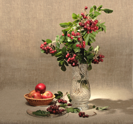 Rowanberry「Bouquet of ashberry in glass vase and group of a red apples.」:スマホ壁紙(11)