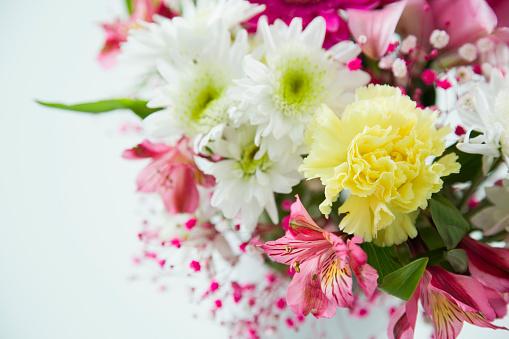 カーネーション「Bouquet of flowers on white background」:スマホ壁紙(6)