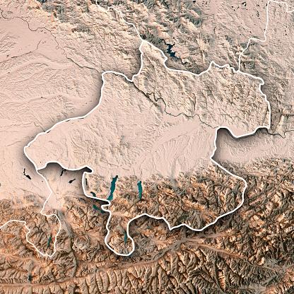 Dachstein Mountains「Upper Austria Bundesland 3D Render Topographic Map Neutral Border」:スマホ壁紙(11)