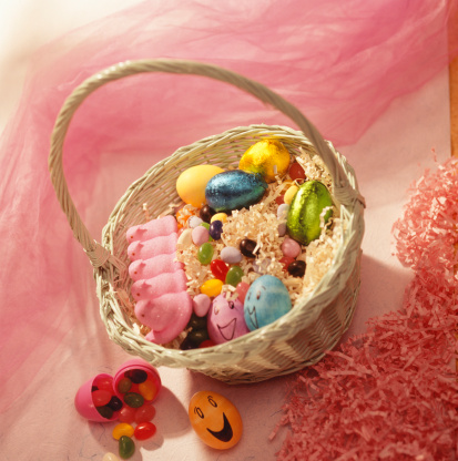 Easter Basket「Easter basket of assorted eggs on pink background」:スマホ壁紙(7)