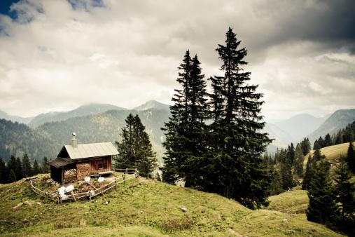 European Alps「alp hut in the ammergauer alps, bavaria,- vintage filtered」:スマホ壁紙(6)