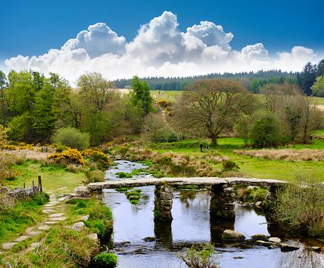 Devon「UK, Postbridge, Clapper Bridge over East Dart River at Dartmoor National Park」:スマホ壁紙(0)