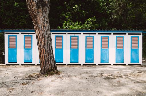 Changing Cubicle「Italy, Lombardy, Province of Brescia, Sirmione, Lake Garda, bathing cabins」:スマホ壁紙(9)