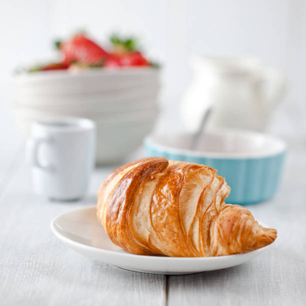 Continental breakfast with coffee and croissant:スマホ壁紙(壁紙.com)