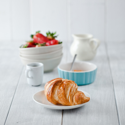Plate「Continental breakfast with coffee and croissant」:スマホ壁紙(13)