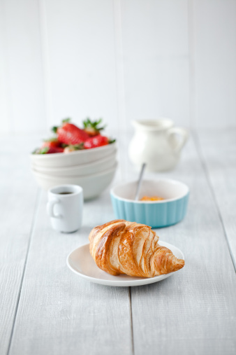 Bread「Continental breakfast with coffee and croissant」:スマホ壁紙(9)