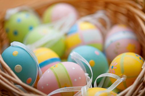 イースター「水平イースター卵のバスケット」:スマホ壁紙(7)