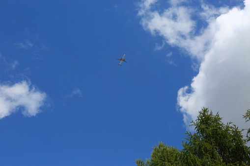 飛行機「plane in a cloudy sky, seen from below」:スマホ壁紙(5)
