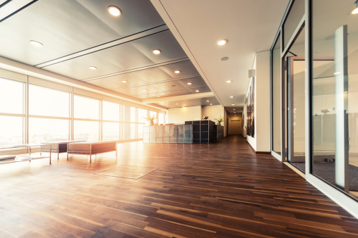 Industry「Office reception with wood floors and window wall」:スマホ壁紙(6)