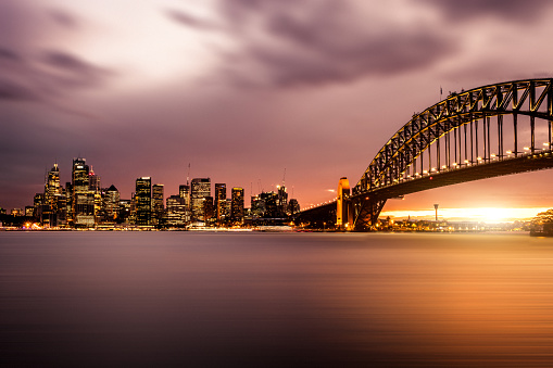 New South Wales「Cityscape of Sydney Downtown and Harbor Bridge」:スマホ壁紙(19)