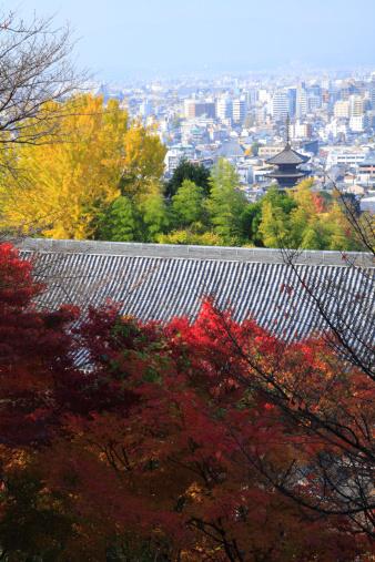 秋+京都「Cityscape of Kyoto and Autumn Leaves, Kyoto, Kyoto, Japan」:スマホ壁紙(8)
