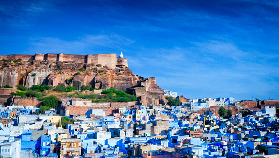 Jodhpur「Cityscape of Blue City and Mehrangarh Fort - Jodhpur, India」:スマホ壁紙(0)
