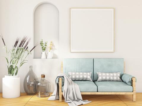 Art「Modern Bright Interior with Empty Frame」:スマホ壁紙(14)