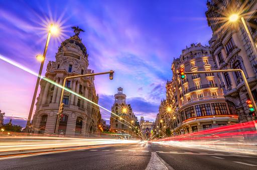 Boulevard「Gran via in Madrid at sunset with car light trails. Spain」:スマホ壁紙(7)