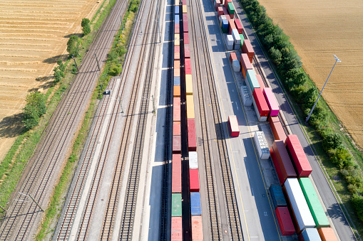 Cultivated Land「Cargo Containers and Freight Trains, Aerial View」:スマホ壁紙(2)