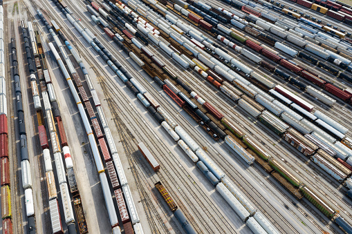 Railroad Junction「Cargo Containers and Freight Trains, Aerial View, Missouri, USA」:スマホ壁紙(14)