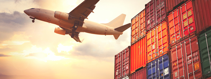 Freight Transportation「Cargo containers and flying cargo airplane」:スマホ壁紙(5)