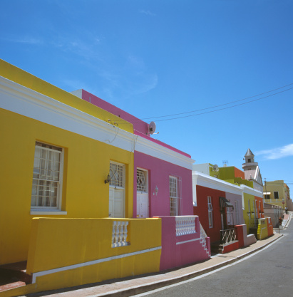 Malay Quarter「South Africa, Capetown, Bo-Kaap Quarter, houses and street」:スマホ壁紙(7)