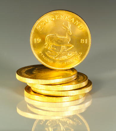 Gold Colored「South African Krugerrand 1oz Gold Coins stacked with reflection」:スマホ壁紙(13)