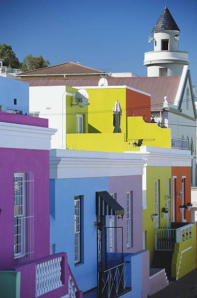 South Africa, Cape Town, Bo Kaap, brightly coloured houses:スマホ壁紙(壁紙.com)