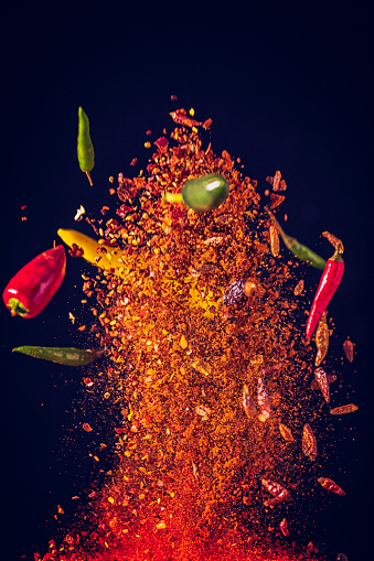 Spice「Spice Mix Food Explosion with Chili Peppers and Basil」:スマホ壁紙(18)