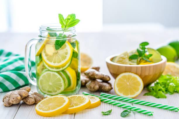 Lemon and ginger infused water on white table:スマホ壁紙(壁紙.com)