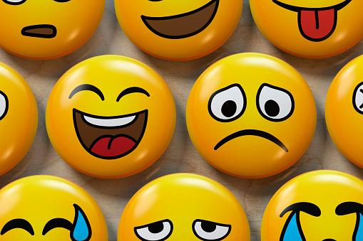 Anthropomorphic Smiley Face「Two emoji badges, one happy, one sad」:スマホ壁紙(19)