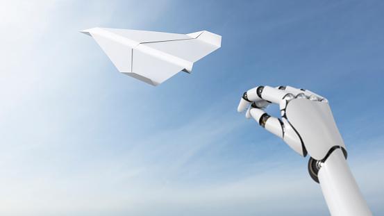 Innovation「Robot hand throwing paper plane, 3D Rendering」:スマホ壁紙(9)