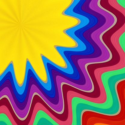 虹「レインボーの渦巻き背景」:スマホ壁紙(14)