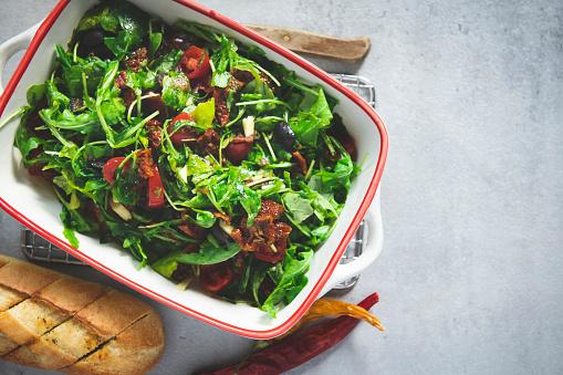 Arugula「Fresh salad bowl. Top view」:スマホ壁紙(9)